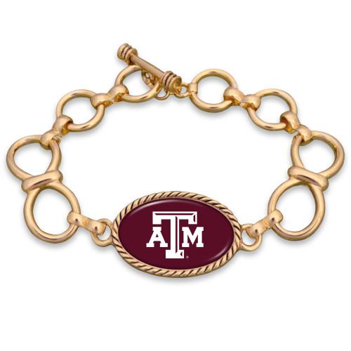 Texas A&M Aggies Chain Link Gold Bracelet