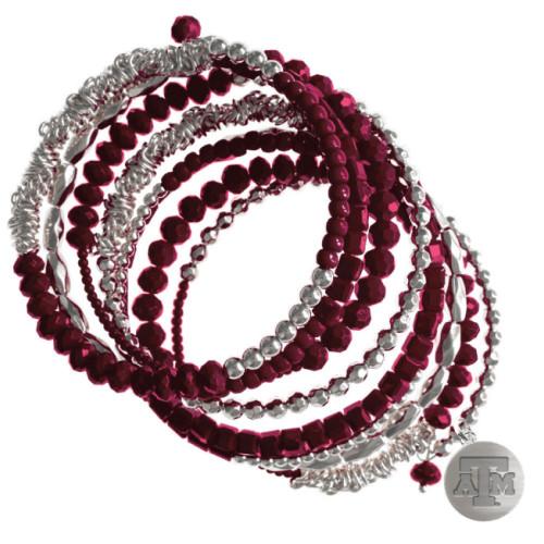 Texas A&M Aggies Mackenzie Wrap Maroon & Silver Bracelet