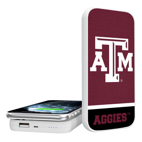 Texas A&M Aggies Solid Wordmark 5000mAH Portable Wireless Charger