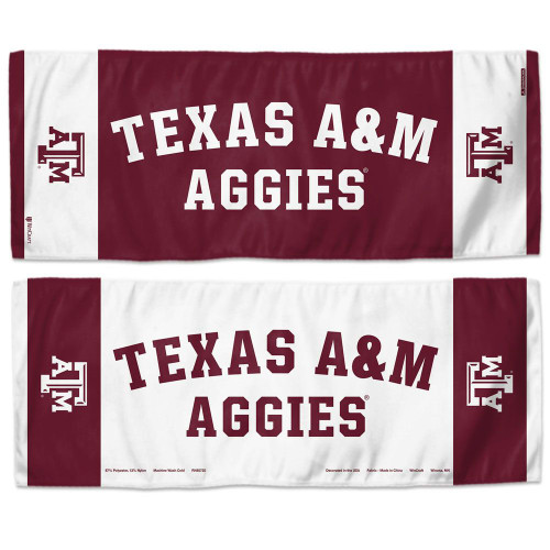 """12"""" x 30"""" Maroon & White 2-Sided Cooling Towel"""