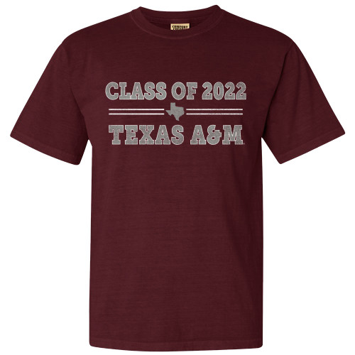Texas A&M Aggies Class of 2022 Comfort Colors Maroon Short Sleeve
