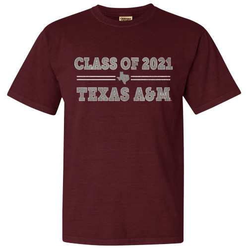 Texas A&M Aggies Class of 2021 Comfort Colors Maroon Short Sleeve