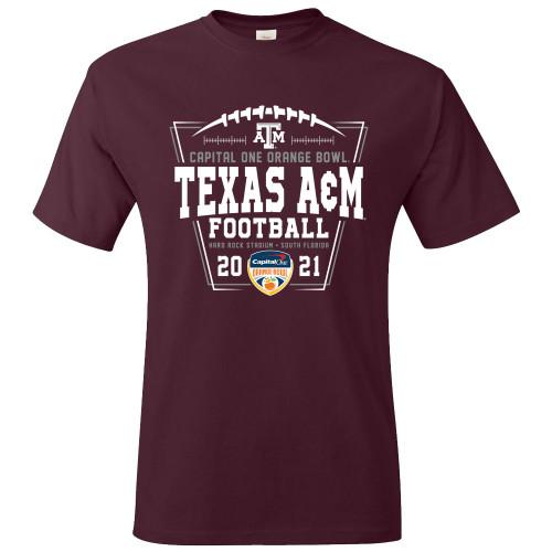 Texas A&M Aggies Maroon 2021 Orange Bowl Short Sleeve T-Shirt