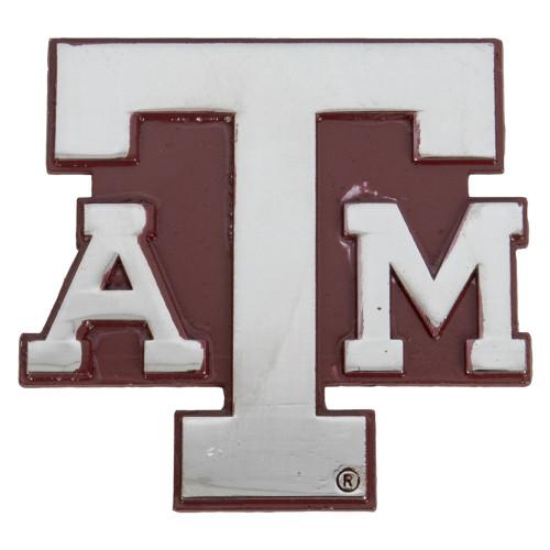 Texas A&M Aggies Silver Car Emblem With Maroon Back