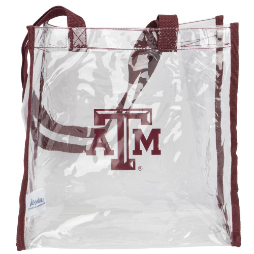 Clear Stadium Tote With Maroon Handles