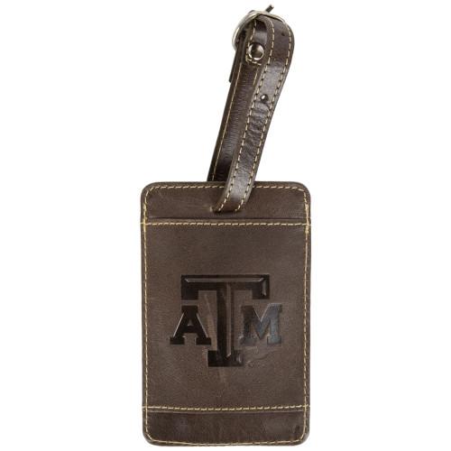 Texas A&M Aggies Tan Leather Luggage Tag
