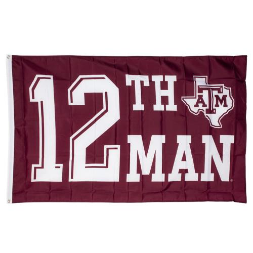 Texas A&M Aggies 12th Man Team Spirit Print 3x5 Maroon Flag
