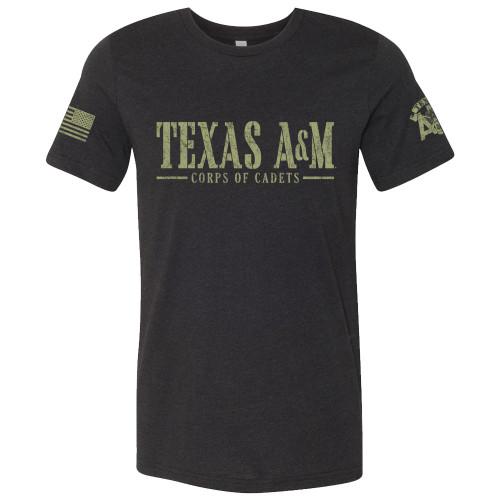 Texas A&M Aggies Corps Of Cadets Logo Sleeve Print Black Bella+Canvas T-Shirt