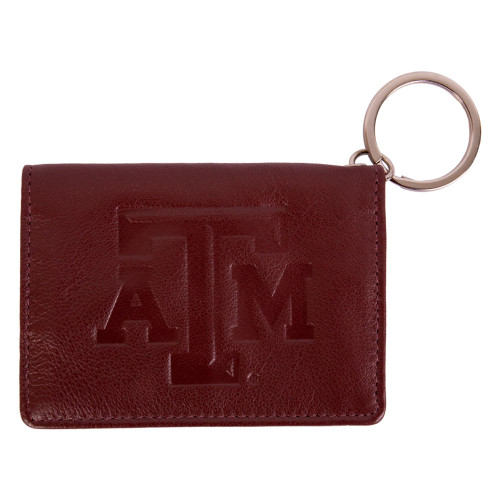 Texas A&M Aggies Nappa Maroon Leather Snap ID Holder & Wallet