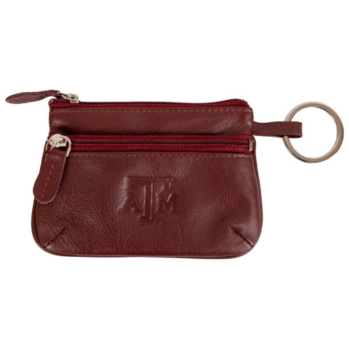 Texas A&M Aggies Nappa Maroon Leather Coin Case