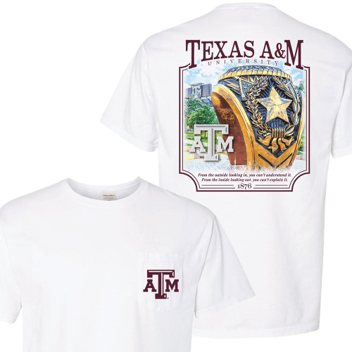 Texas A&M Aggie Ring Comfort Colors Pocket White Short Sleeve T-Shirt