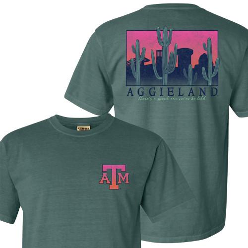 Texas A&M Aggies Cactus Skyline Sunset Comfort Colors Blue Spruce T-Shirt
