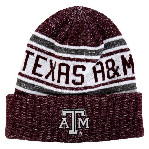 Texas A&M Aggies Heather Maroon & White Line Blocks Beanie