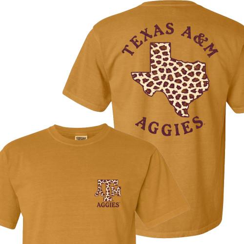 Texas A&M Aggies Cheetah Lonestar Comfort Colors Monarch Short Sleeve T-Shirt