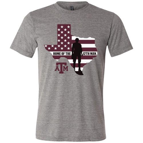 Texas A&M Aggies Stars&Stripes 12th Man Bella+Canvas Grey Short Sleeve T-Shirt