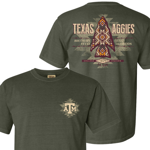 Texas A&M Aggies Aztec Arrowhead Comfort Colors Sage Short Sleeve T-Shirt