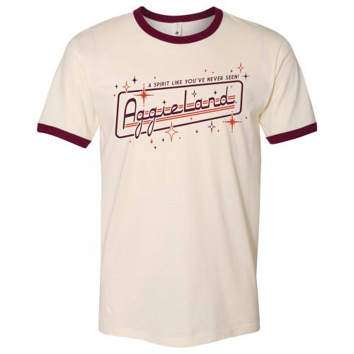 Texas A&M Aggieland Retro Short Sleeve Natural & Maroon Ringer T-Shirt