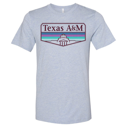 Texas A&M Aggies Line & Buildings Bella+Canvas Prism Blue Short Sleeve T-Shirt