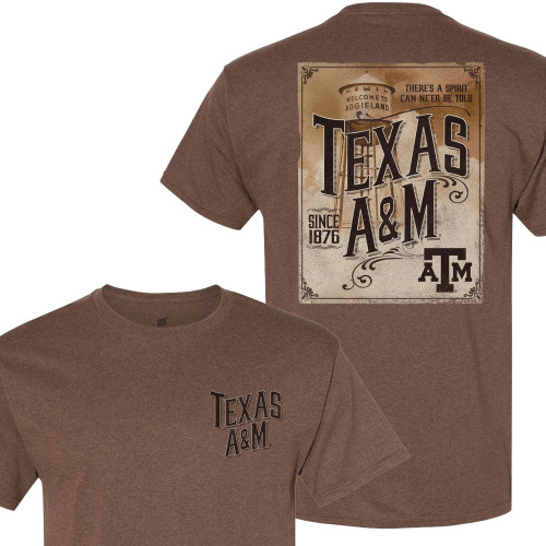 Texas A&M Aggieland Water Tower Heather Brown Short Sleeve T-Shirt