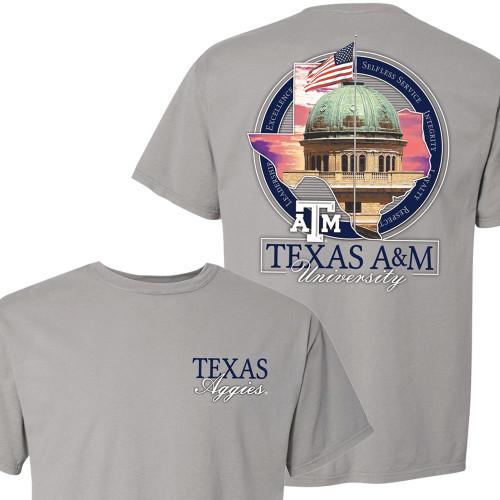 Texas A&M Aggies Sunset Academic Building ComfortWash Concrete T-Shirt