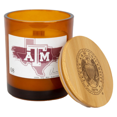 Texas A&M Aggies Amber Glass Vanilla Candle