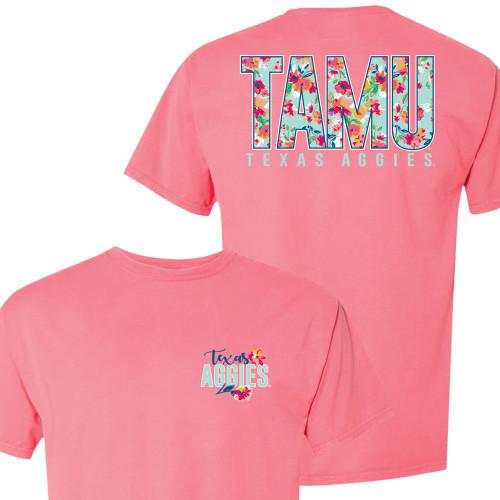Texas A&M Floral TAMU Comfort Wash Ladies Short Sleeve Coral Craze
