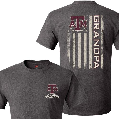 Texas A&M Aggie Grandpa USA Flag Hanes Charcoal Heather T-Shirt