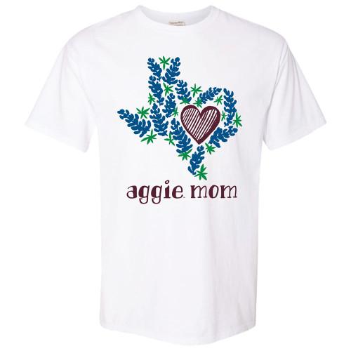Texas A&M Aggie Mom Bluebonnet Texas ComfortWash White Short Sleeve T-Shirt