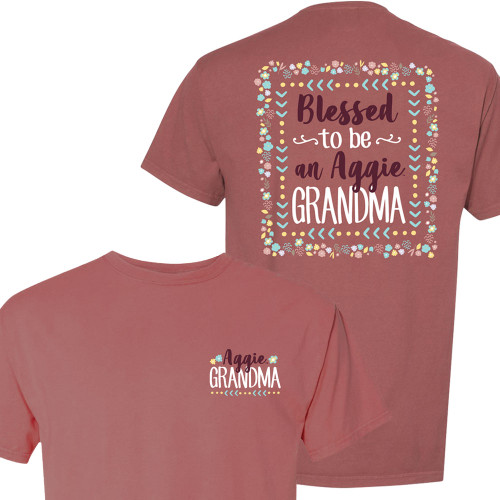 Texas A&M Blessed to be an Aggie Grandma Floral Frame Mauve Short Sleeve