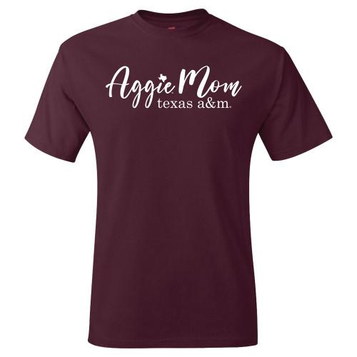 Texas A&M Aggies Script Aggie Mom Short Sleeve Maroon T-Shirt