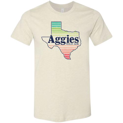 Texas A&M Aggies Bright Stripes Texas Bella+Canvas Heather Prism Natural Tee