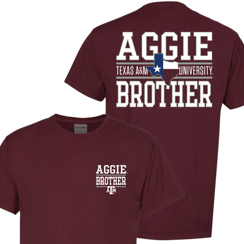 Texas A&M Aggie Brother Lonestar Block Text Maroon Short Sleeve