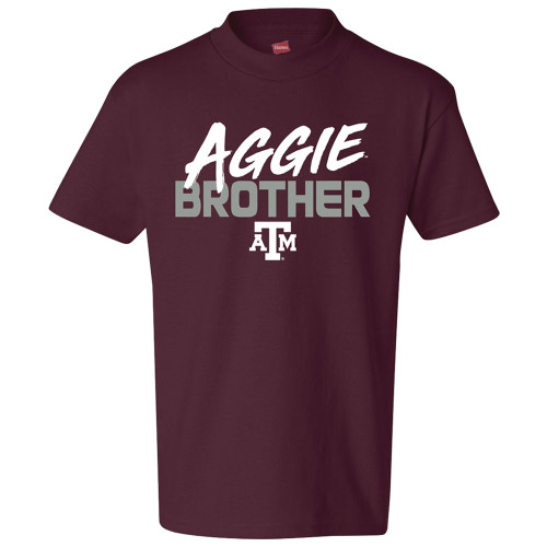 Texas A&M Aggies Youth Brush Text Aggie Brother Maroon Short Sleeve Tee