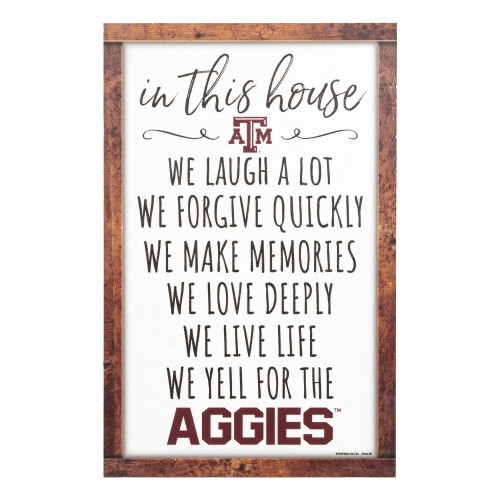 Texas A&M Aggies In This House Box List 11x17 White Sign
