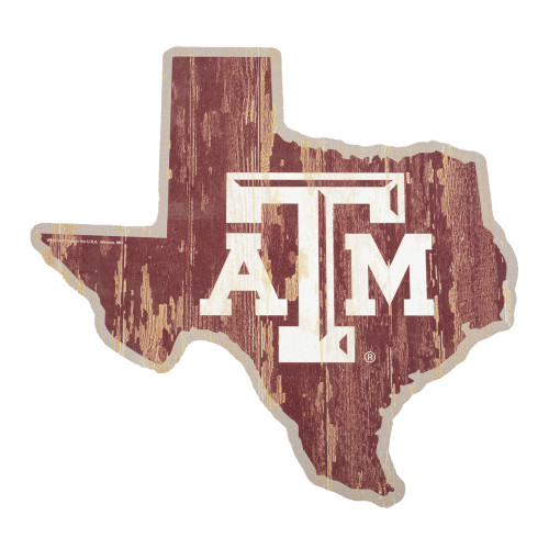 Texas A&M Aggies State Shape Maroon Wood Sign