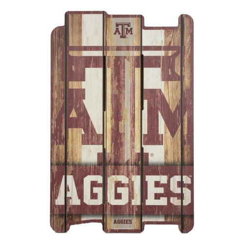 Texas A&M Aggies Wood Planks 11x17 Maroon Sign