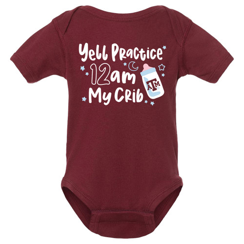 Texas A&M Aggies Yell Practice 12am Infant Maroon Onezie