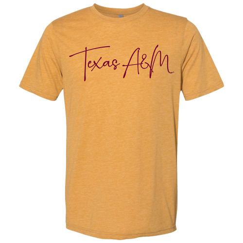 Texas A&M Aggies Script Softstyle T-Shirt | Antique Gold