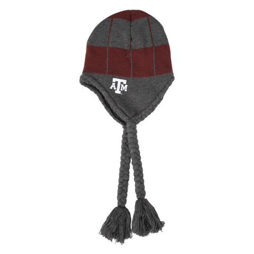 Texas A&M Aggies Fleece Lined Charcoal & Burgundy Earflap Hat With Braided Tassels
