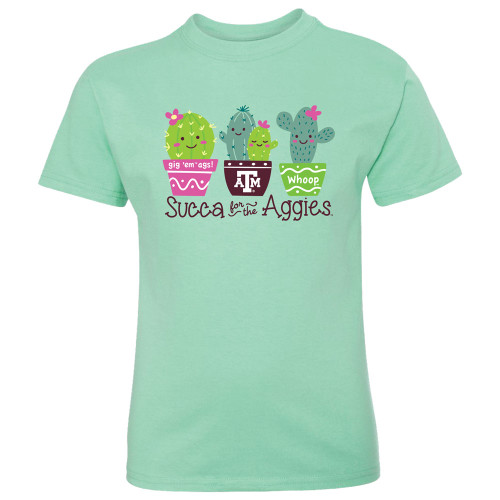 Texas A&M Aggies Youth Succa For The Ags Clean Mint Short Sleeve Tee