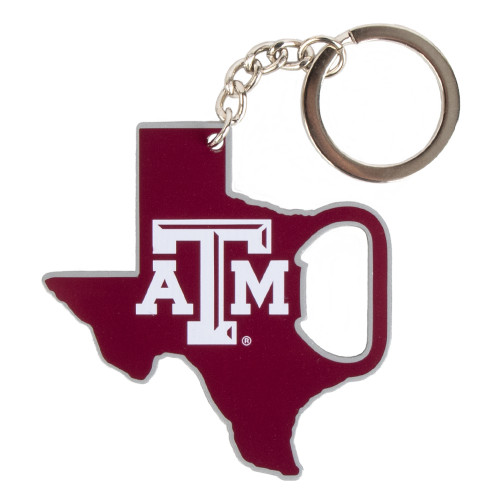 Texas A&M Aggies State Of Texas Bottle Opener Maroon Keychain