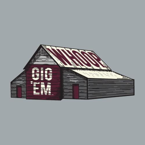 Texas A&M Aggies 5 x 2.25 Gig 'Em Whoop Barn Decal