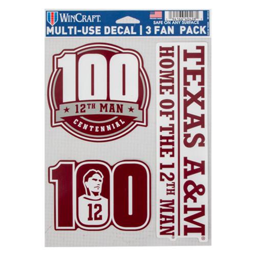 """Texas A&M 12th Man Centennial 3pk Fan Decals 5.5"""" x 7.75"""""""