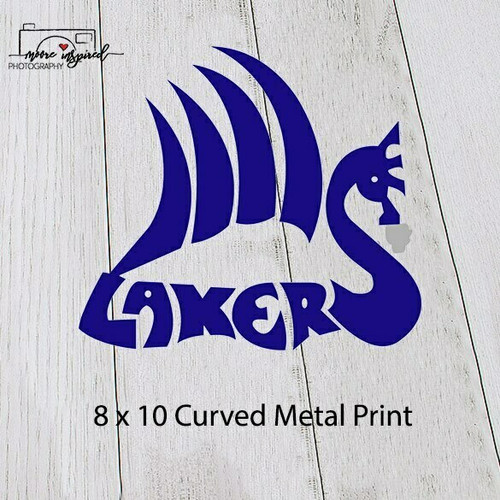 CURVED METAL PRINT SHELL LAKE-VOLLEYBALL