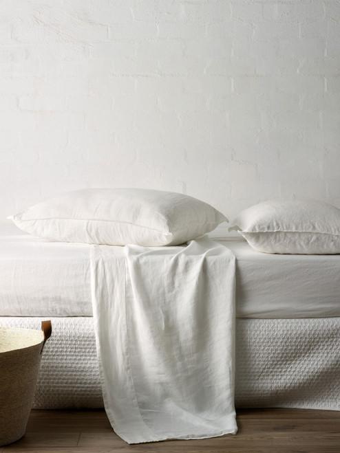 Mondo 100% French Linen Sheet Set - White, Queen