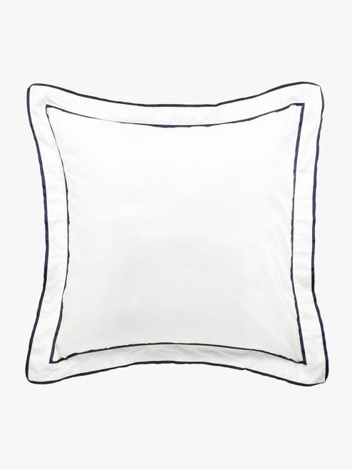 Grosgrain Navy Pillowcase, Euro Size European