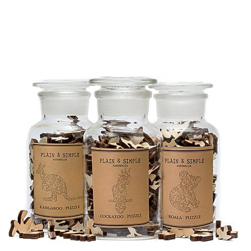 Plain & Simple Wooden Jigsaw Puzzle in Apothecary Jar