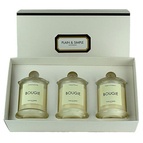 Plain & Simple Have a Holiday! Trio of Three Candles 3 Set