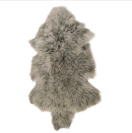 Mongolian Fur Frost Grey Shrug Throw Sheepskin