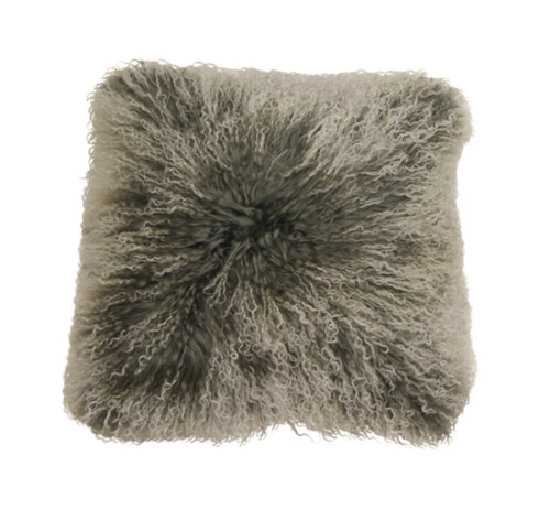 Frost Grey Cushion Mongolian Fur